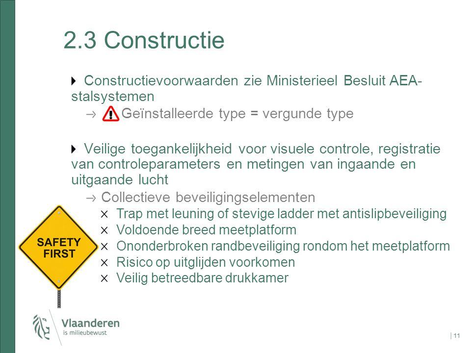 2.3 Constructie Constructievoorwaarden zie Ministerieel Besluit AEA-stalsystemen. Geïnstalleerde type = vergunde type.