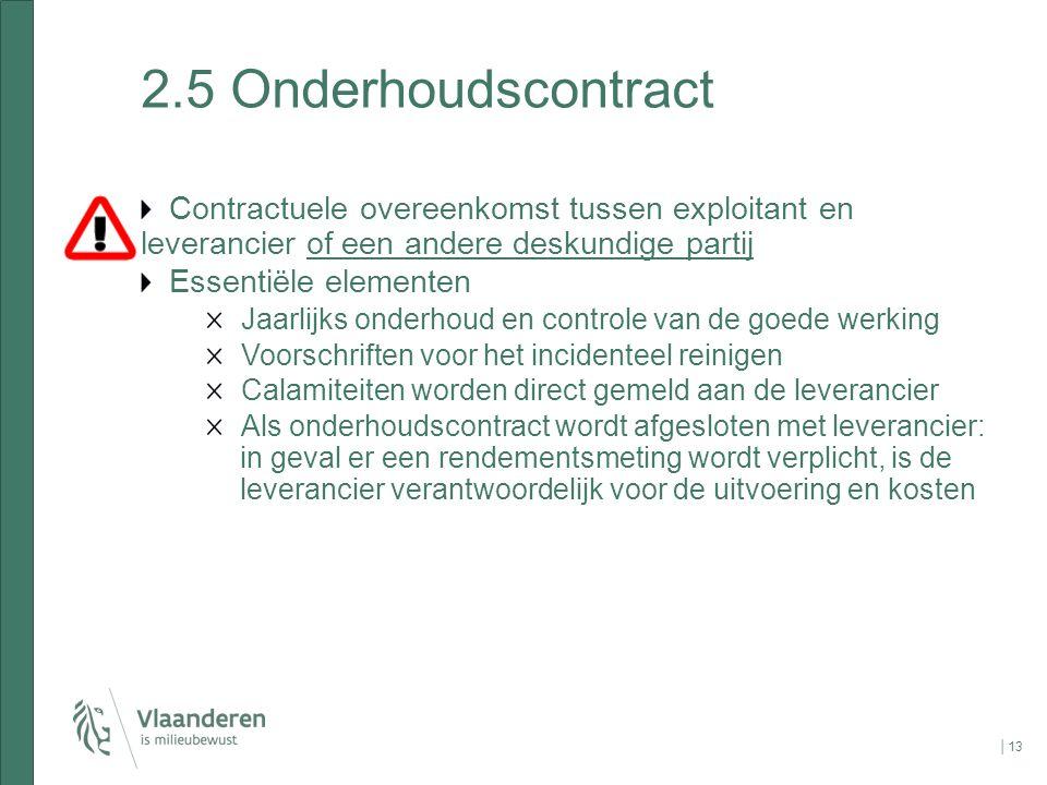 2.5 Onderhoudscontract Contractuele overeenkomst tussen exploitant en leverancier of een andere deskundige partij.