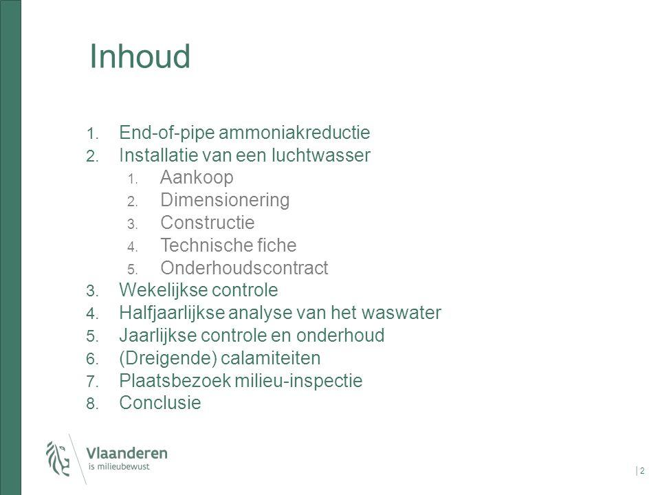 Inhoud End-of-pipe ammoniakreductie Installatie van een luchtwasser