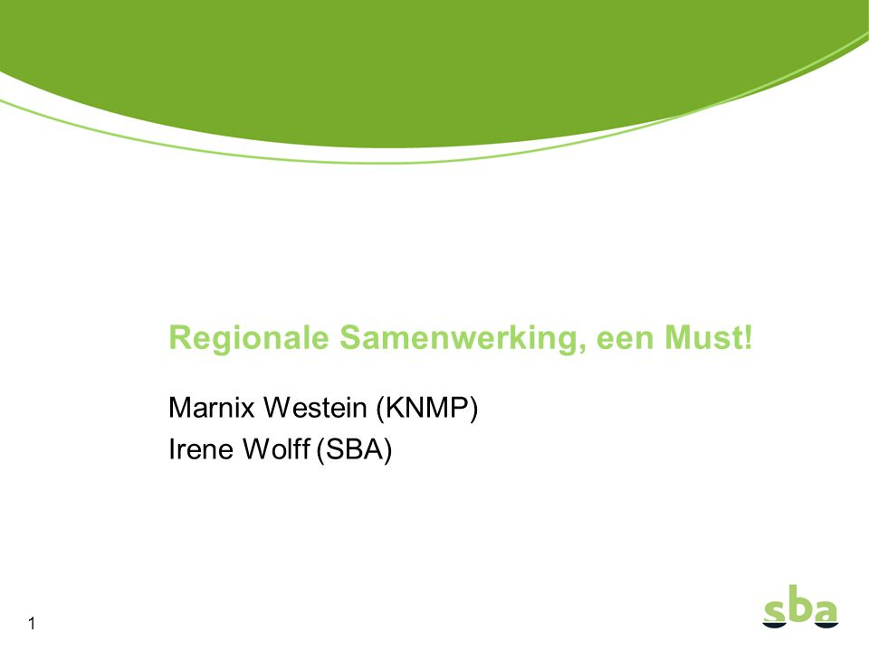 Regionale Samenwerking, een Must!