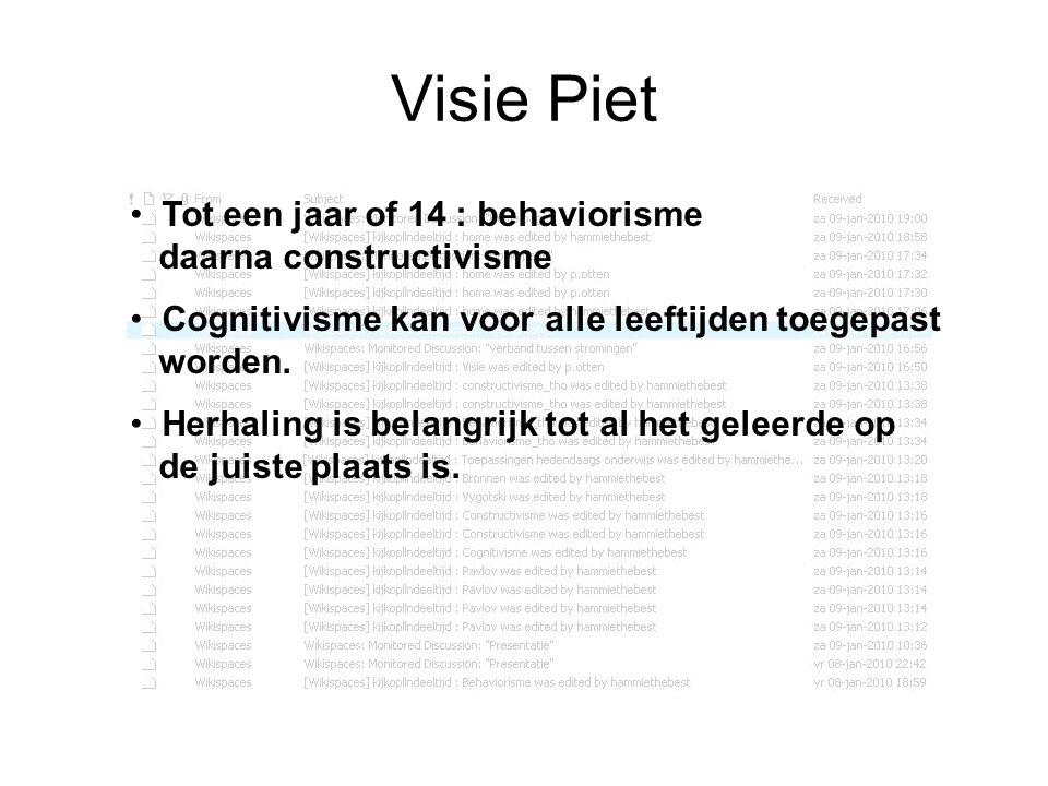 Visie Piet Tot een jaar of 14 : behaviorisme daarna constructivisme