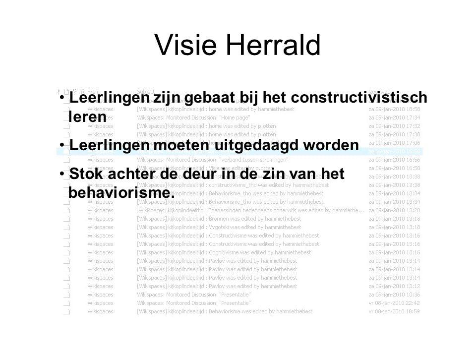 Visie Herrald Leerlingen zijn gebaat bij het constructivistisch leren
