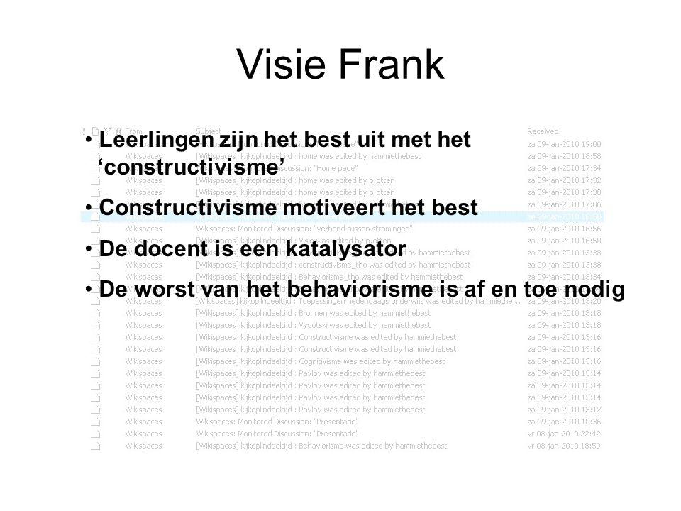 Visie Frank Leerlingen zijn het best uit met het 'constructivisme'