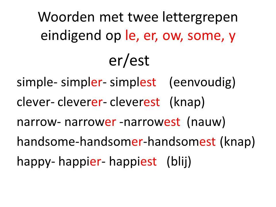 Woorden met twee lettergrepen eindigend op le, er, ow, some, y