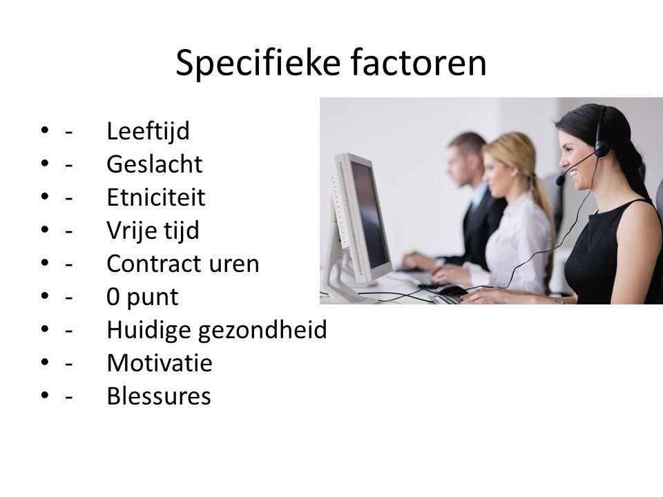 Specifieke factoren - Leeftijd - Geslacht - Etniciteit - Vrije tijd
