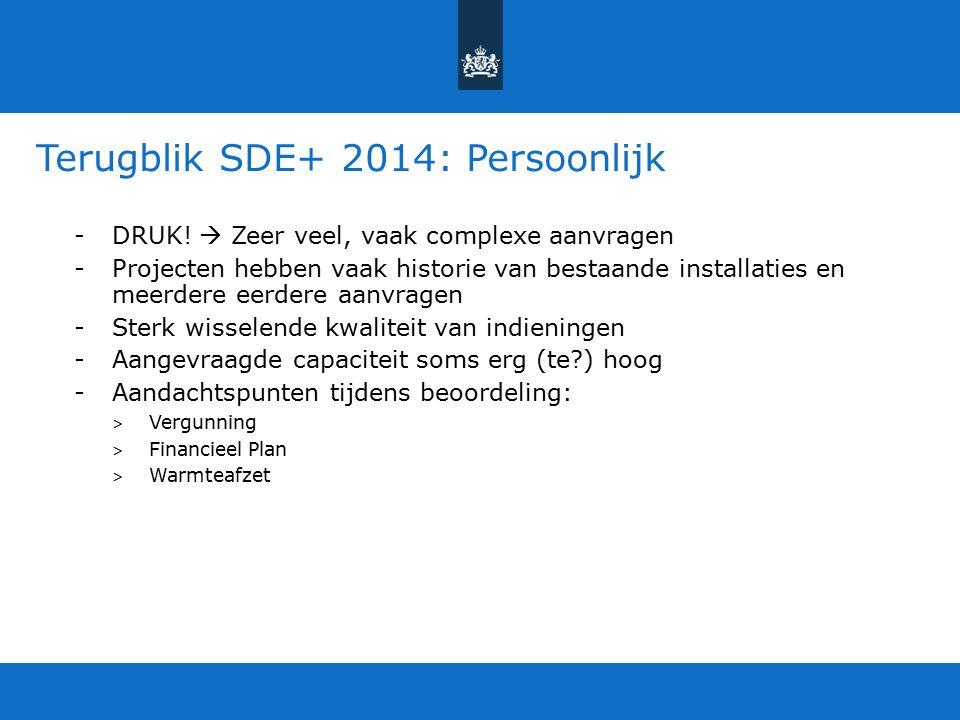 Terugblik SDE+ 2014: Persoonlijk