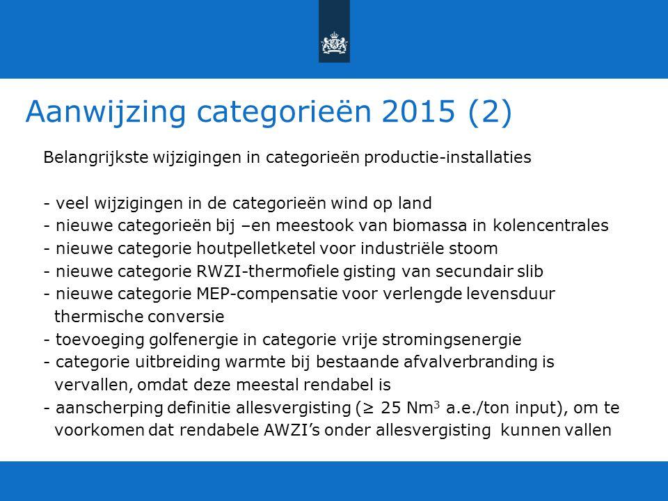 Aanwijzing categorieën 2015 (2)