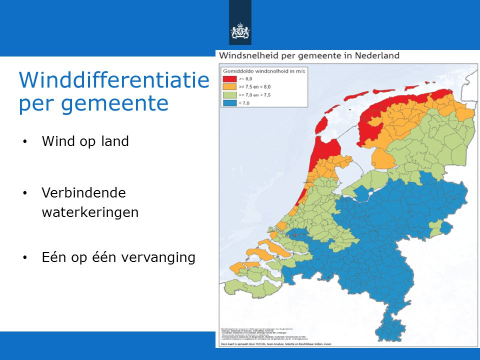 Winddifferentiatie per gemeente