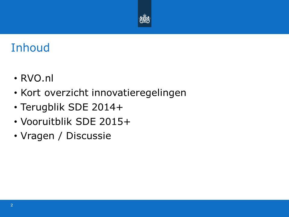 Inhoud RVO.nl Kort overzicht innovatieregelingen Terugblik SDE 2014+