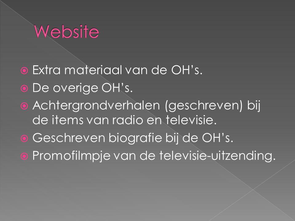 Website Extra materiaal van de OH's. De overige OH's.