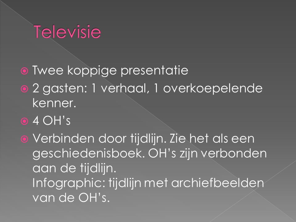Televisie Twee koppige presentatie