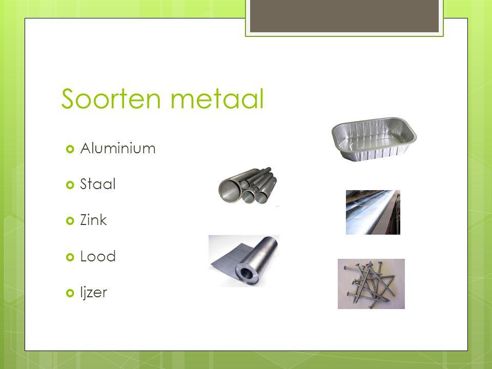 Soorten metaal Aluminium Staal Zink Lood Ijzer