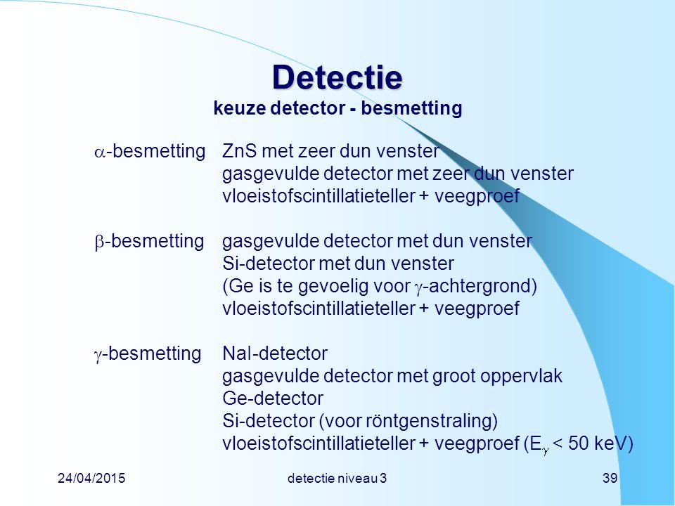 Detectie keuze detector - besmetting