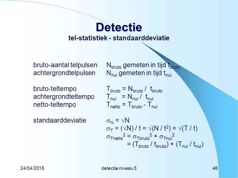 Detectie tel-statistiek - standaarddeviatie