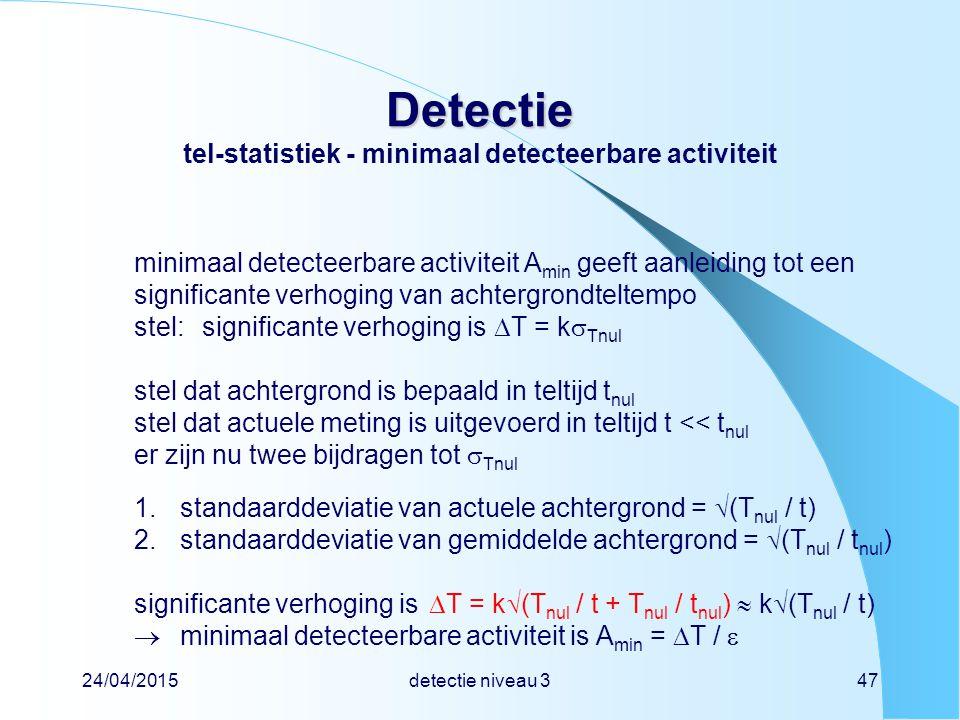 Detectie tel-statistiek - minimaal detecteerbare activiteit