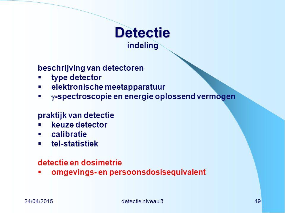Detectie indeling beschrijving van detectoren type detector