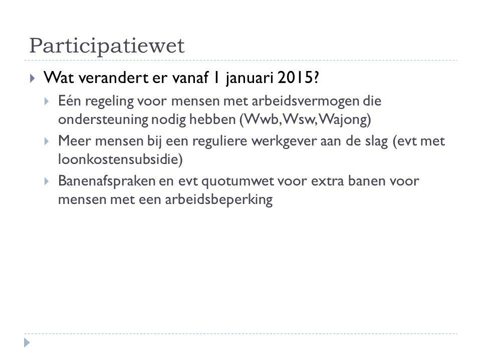 Participatiewet Wat verandert er vanaf 1 januari 2015