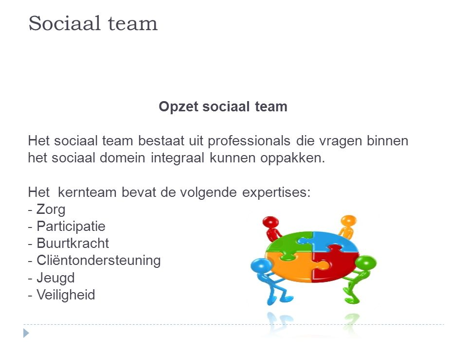 Sociaal team Opzet sociaal team