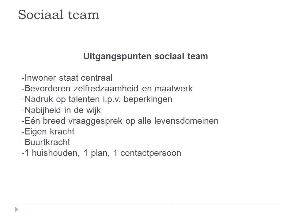 Uitgangspunten sociaal team