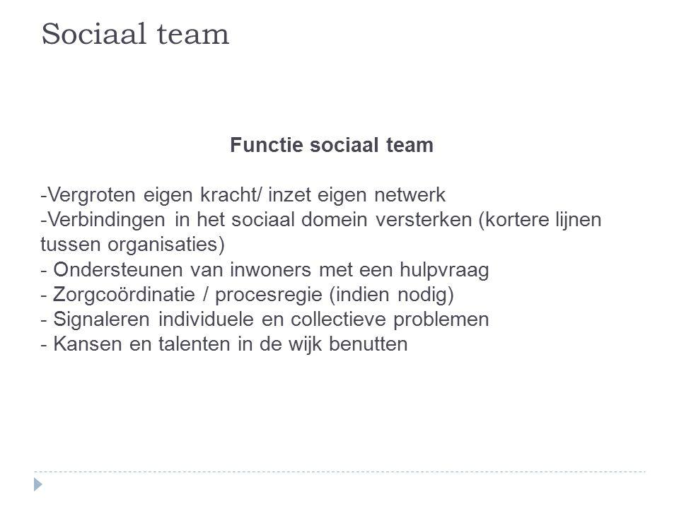 Sociaal team Functie sociaal team