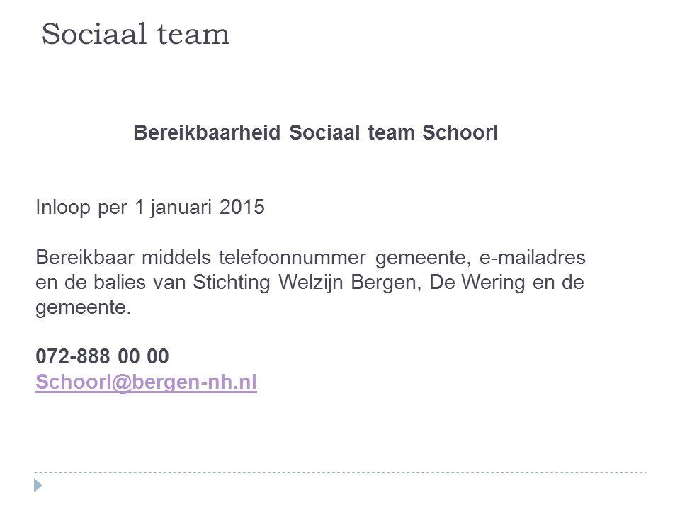 Bereikbaarheid Sociaal team Schoorl