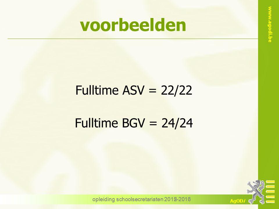 voorbeelden Fulltime ASV = 22/22 Fulltime BGV = 24/24
