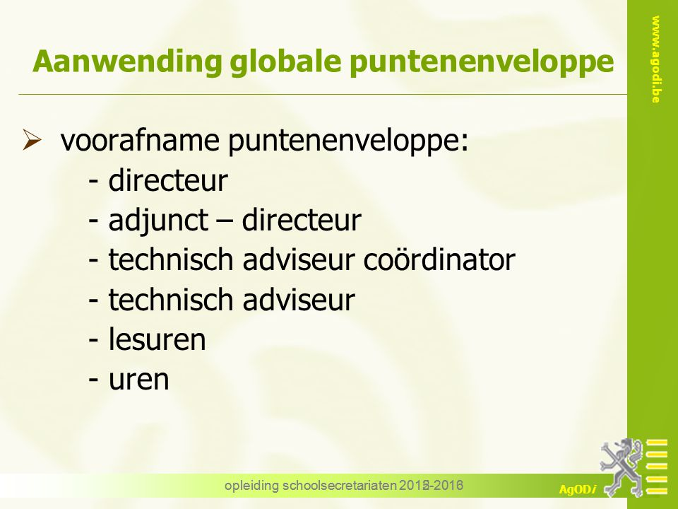 Aanwending globale puntenenveloppe
