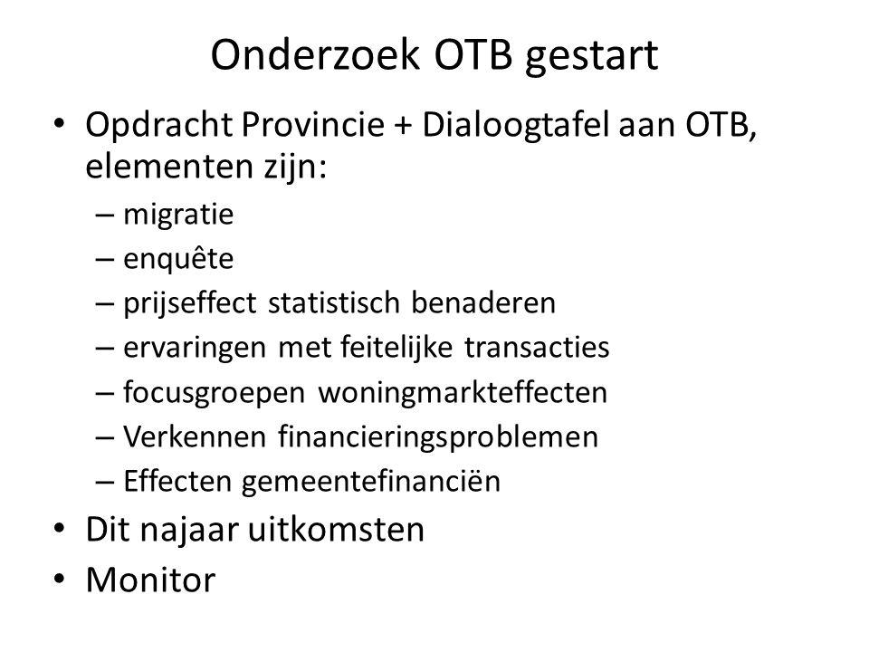 Onderzoek OTB gestart Opdracht Provincie + Dialoogtafel aan OTB, elementen zijn: migratie. enquête.
