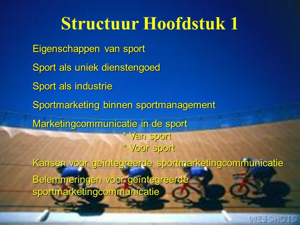 Structuur Hoofdstuk 1 Eigenschappen van sport