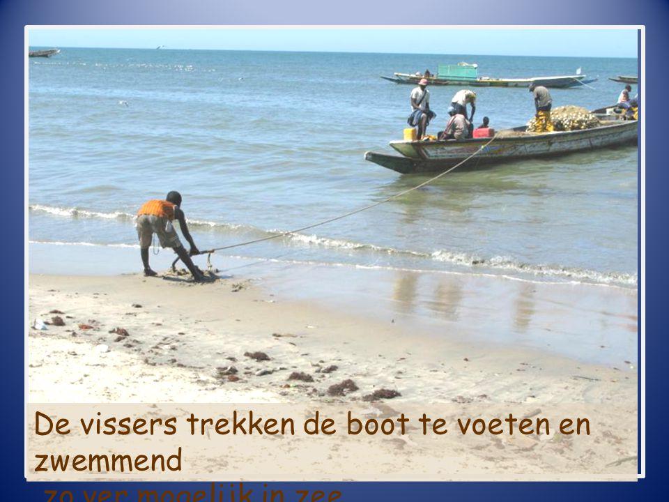 De vissers trekken de boot te voeten en zwemmend