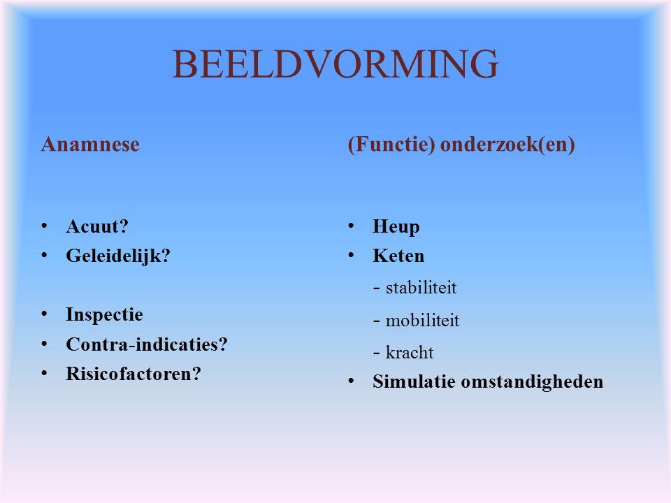 BEELDVORMING Anamnese (Functie) onderzoek(en) - stabiliteit