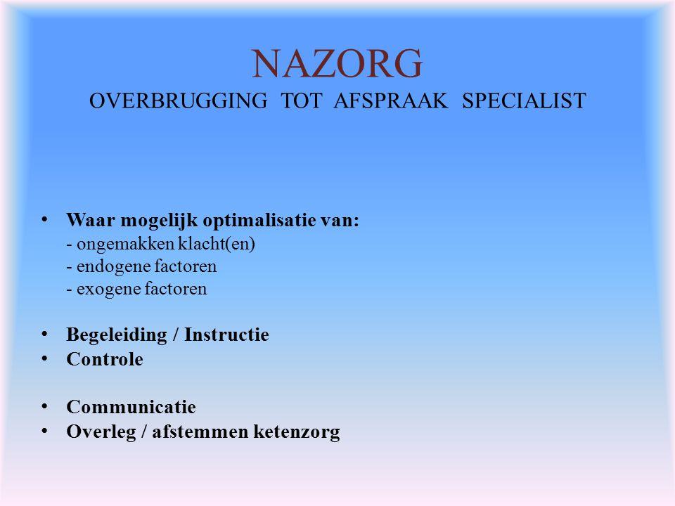 NAZORG OVERBRUGGING TOT AFSPRAAK SPECIALIST