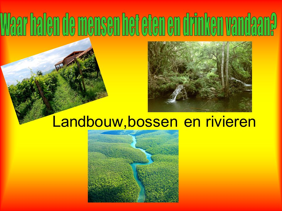 Landbouw,bossen en rivieren