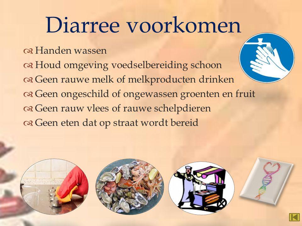 Diarree voorkomen Handen wassen Houd omgeving voedselbereiding schoon