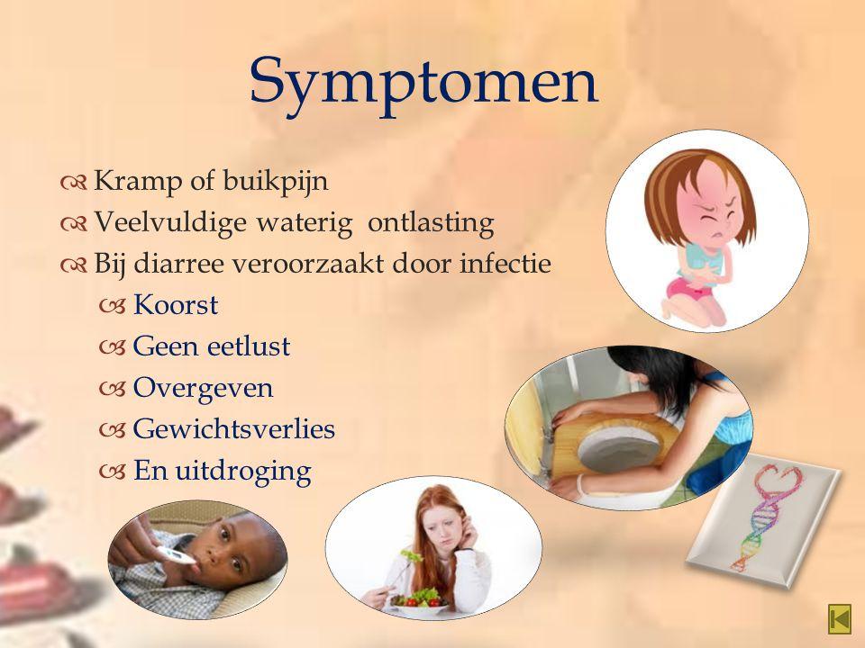 Symptomen Kramp of buikpijn Veelvuldige waterig ontlasting