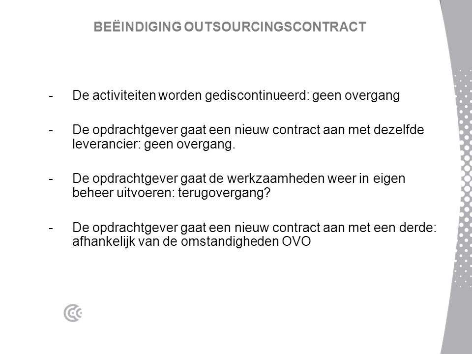 BEËINDIGING OUTSOURCINGSCONTRACT