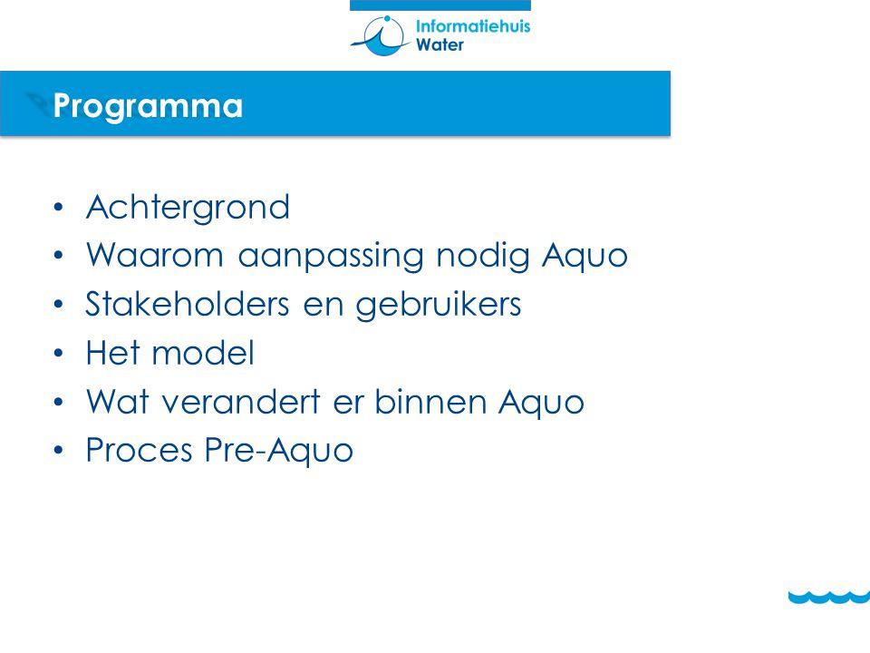 Programma Achtergrond. Waarom aanpassing nodig Aquo. Stakeholders en gebruikers. Het model. Wat verandert er binnen Aquo.