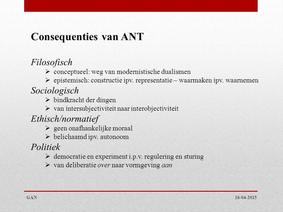 Consequenties van ANT Filosofisch Sociologisch Ethisch/normatief
