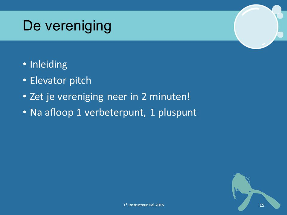 De vereniging Inleiding Elevator pitch