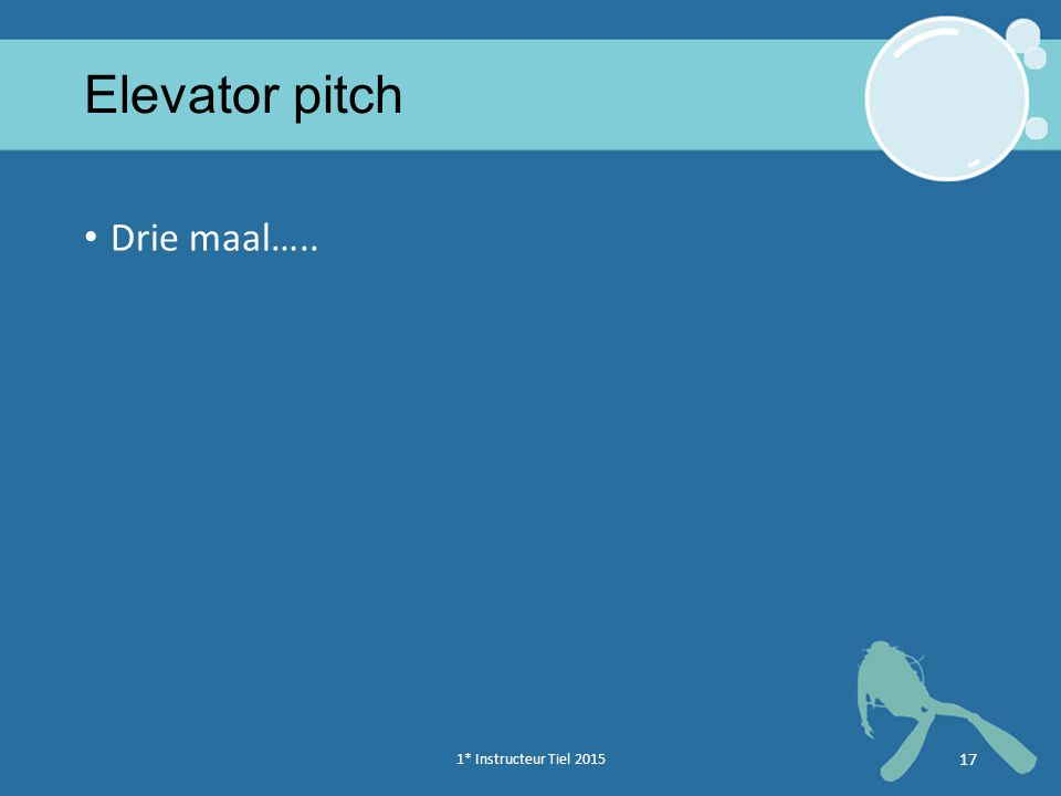 Elevator pitch Drie maal…..