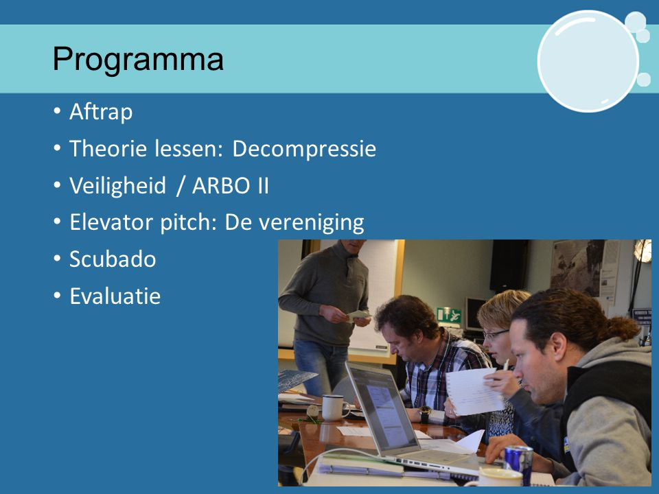 Programma Aftrap Theorie lessen: Decompressie Veiligheid / ARBO II