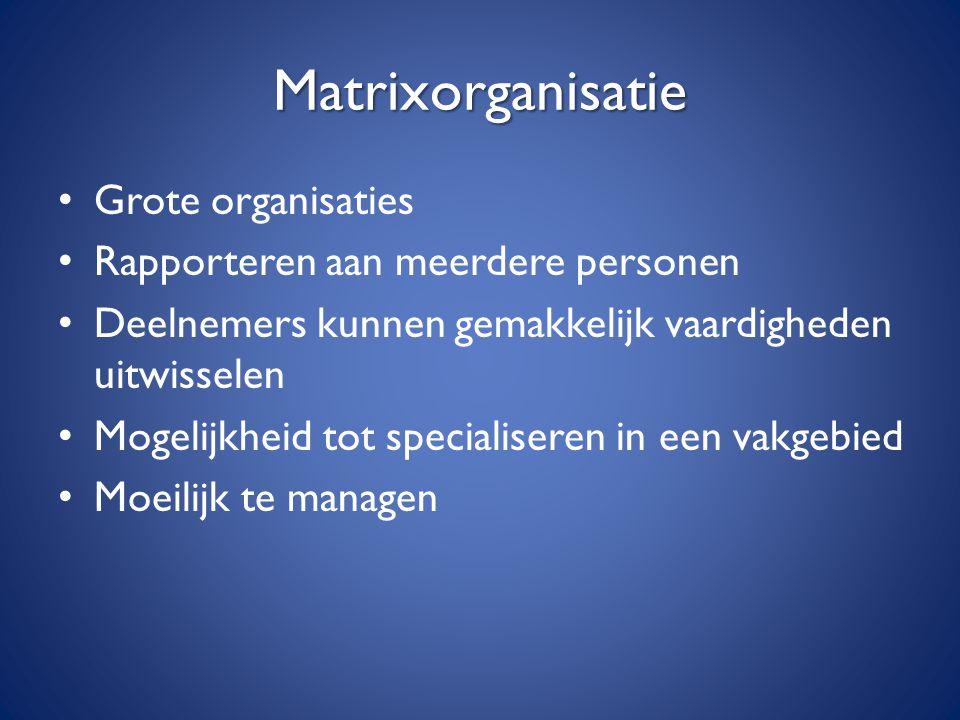 Matrixorganisatie Grote organisaties Rapporteren aan meerdere personen