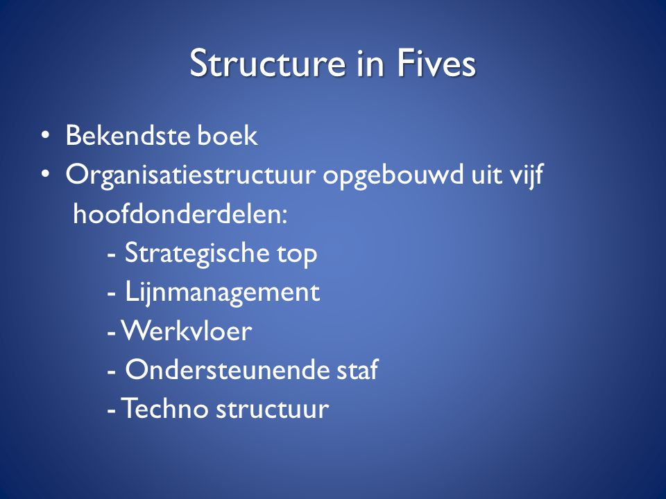 Structure in Fives Bekendste boek