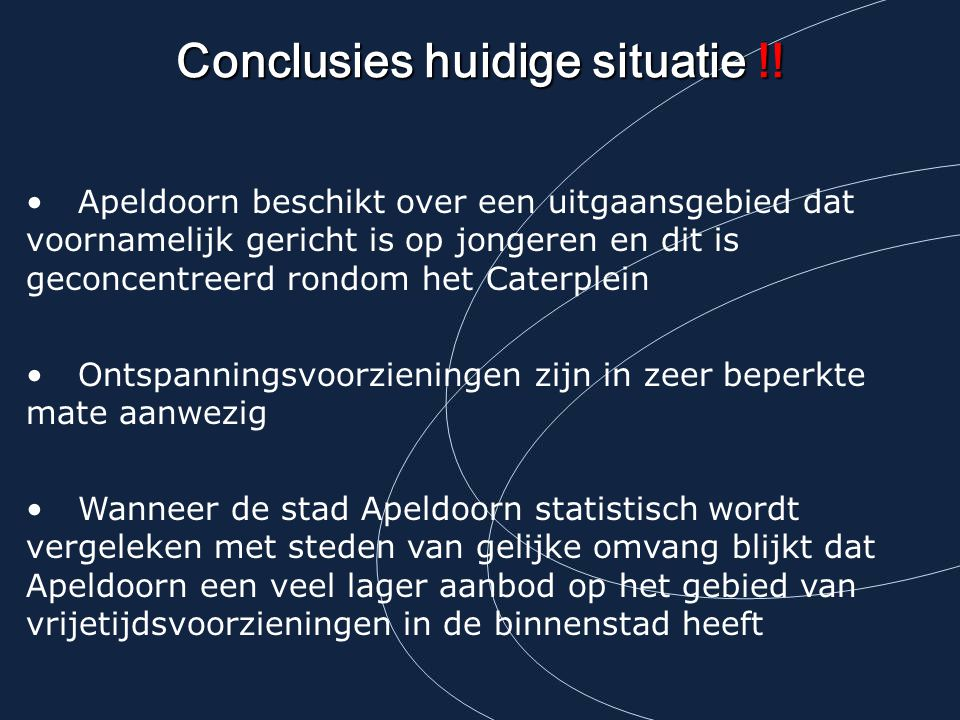 Conclusies huidige situatie !!