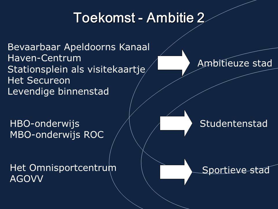 Toekomst - Ambitie 2 Bevaarbaar Apeldoorns Kanaal Haven-Centrum Stationsplein als visitekaartje Het Secureon Levendige binnenstad.