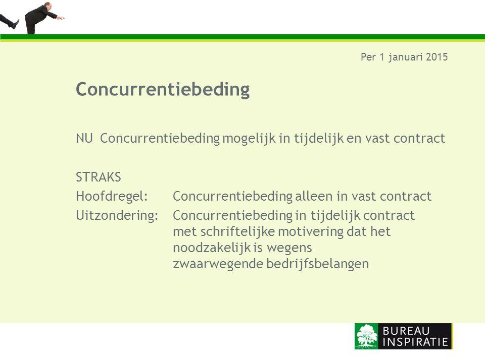 Per 1 januari 2015 Concurrentiebeding. NU Concurrentiebeding mogelijk in tijdelijk en vast contract.