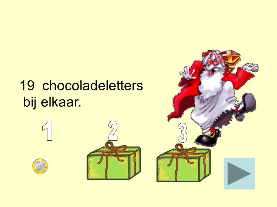 19 chocoladeletters bij elkaar. 1 2 3