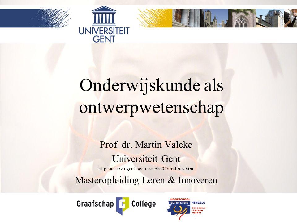 Onderwijskunde als ontwerpwetenschap