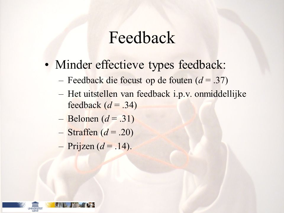 Feedback Minder effectieve types feedback: