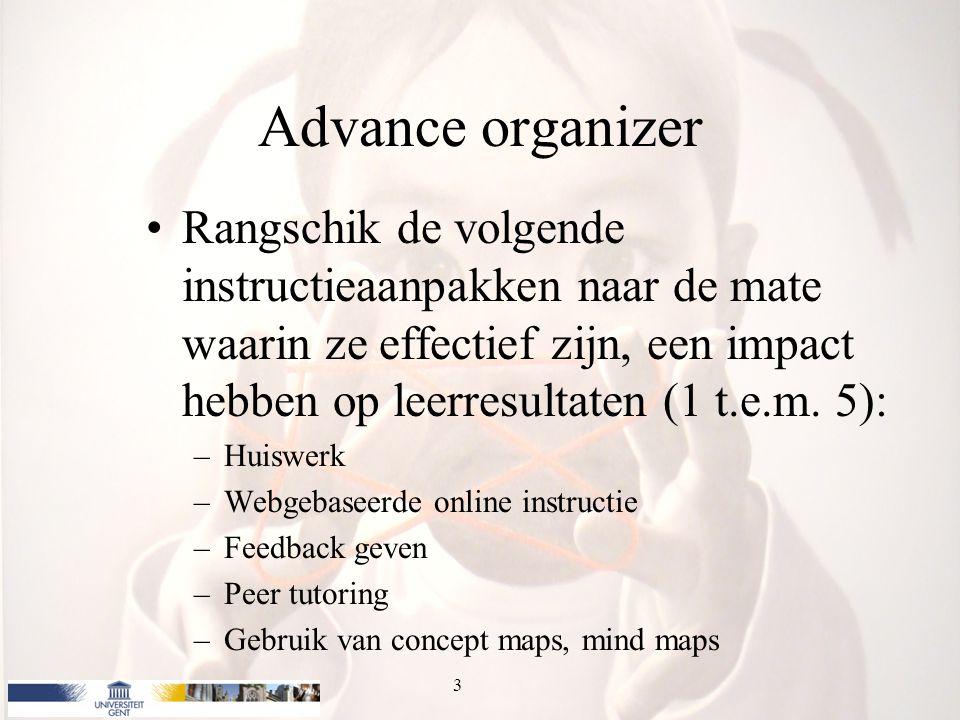 Advance organizer Rangschik de volgende instructieaanpakken naar de mate waarin ze effectief zijn, een impact hebben op leerresultaten (1 t.e.m. 5):
